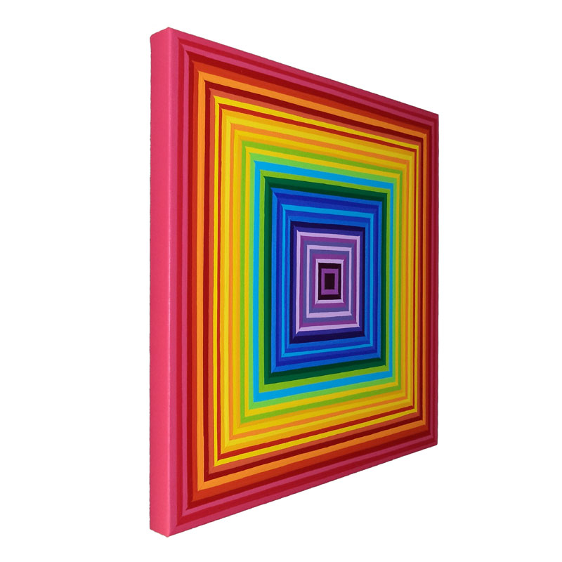 Square Rainbow Painting Concentric Multicolor Artwork
