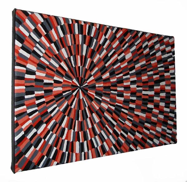 Original Orange And Black Circle Rows Optical Painting