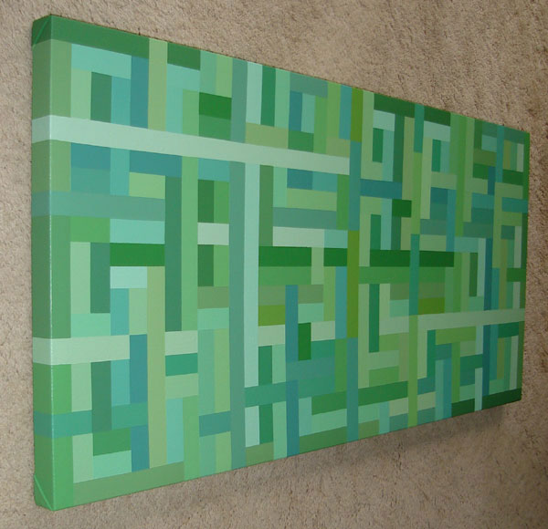 Shades of Green Modern Weave Painting Acrylic on Canvas 40 by 20