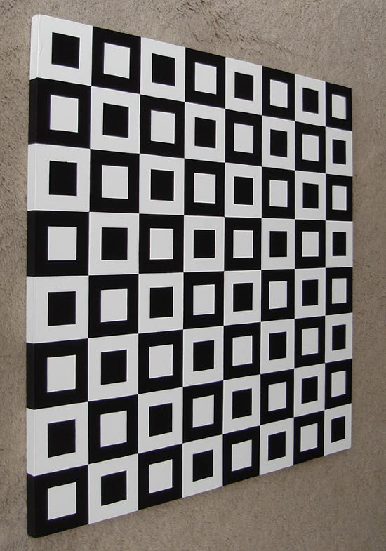 Brilliant Black & White Modern Squares Painting Acrylics on Wood 24