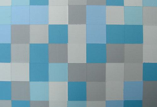 original modern blue and gray pop art squares painting