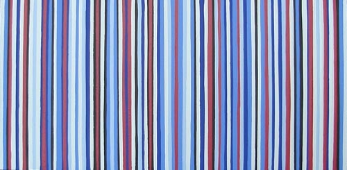 Blue & Red Striped Painting