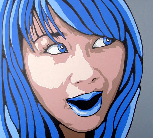 Original Blue Expression Modern Portrait Painting
