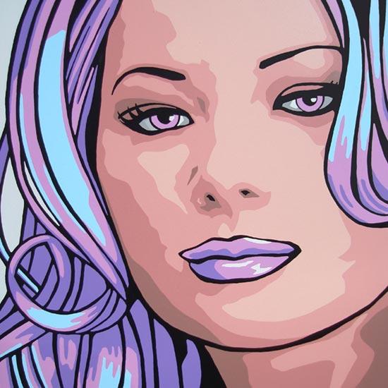 cherie purple pop art portrait painting. Black Bedroom Furniture Sets. Home Design Ideas