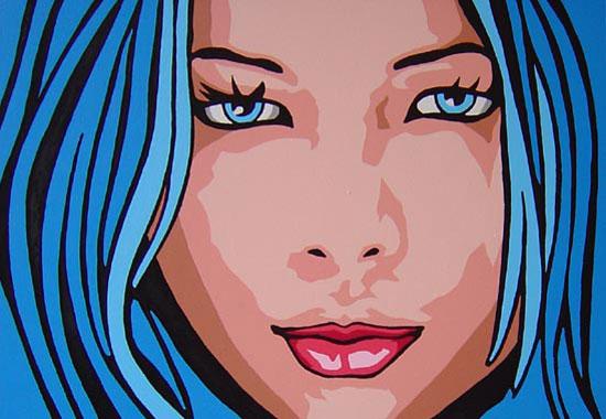 original cherie blue pop art portrait painting. Black Bedroom Furniture Sets. Home Design Ideas