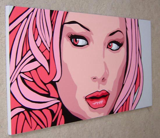 Cherie Pink Pop Art Portrait Painting