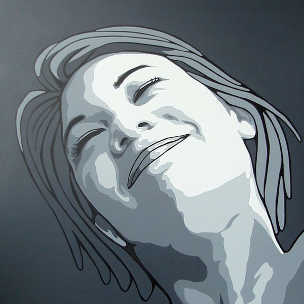 Black and white modern portrait painting