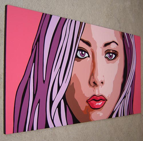"Huge Pop Art Portrait Painting Acrylics on Wood 48"" by 24"" Private"