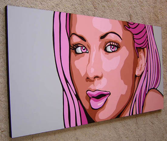 Magenta pop art portrait painting