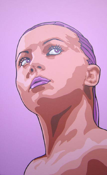 Pop art portrait acrylic on wood panel 48 by 30 private collection