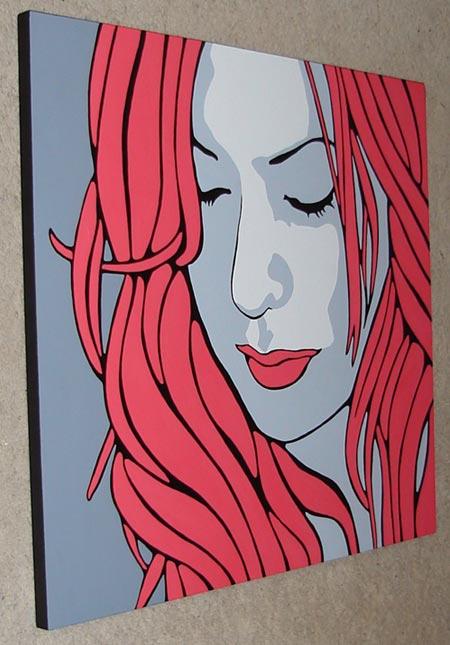 Stacii Red Pop Art Portrait Painting