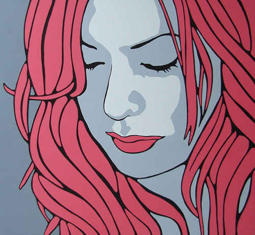 Stacii Red Pop Art Portrait Painting
