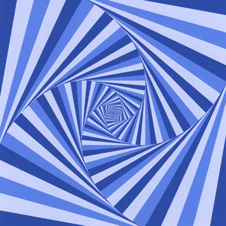 Blue & White Geometric Spiral Giclee Abstract Print 6.5