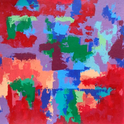 Orange, Purple, Red And Blue Abstract Painting