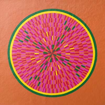Orange Magenta Circle Painting