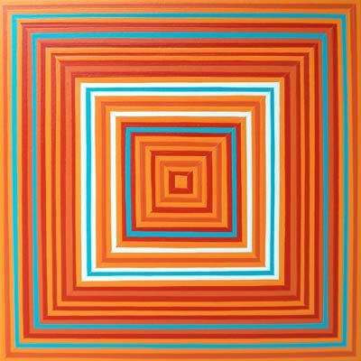 Orange And Blue Square Painting