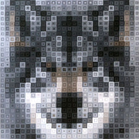 Grey Wolf Pixel Painting