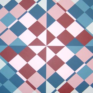 Red and Blue Geometric Painting