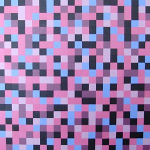 Pink, Blue and Black Squares Painting